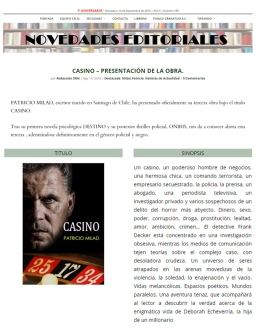 SOLO NOVELA NEGRA. Patricio Milad lanza novela negra CASINO.