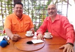 Escritor Patricio Milad, entrevistado en 45TV, por Rossel Posas, por novela FUEGO 1
