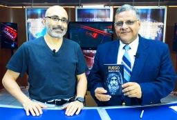 Escritor chileno Patricio Milad, entrevistado por periodista Milton Unruh, en Noticiero del Atlántico (45TV), con motivo del lanzamiento novela FUEGO...